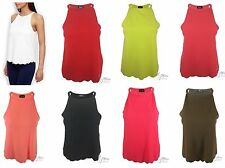 NEW WOMENS LADIES MUSCLE BACK STRAP SCALLOPED EDGE HEM CASUAL CAMI VEST LOOK TOP