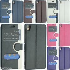 FOR SONY XPERIA Z3 LEATHER CASE COVER FLIP WALLET POUCH BACK DUAL WINDOW FREE SP