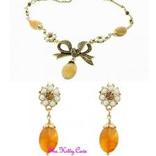Vintage Gold Bow Hollywood Pearl Agate Necklace Earring Set w/ Swarovski Crystal