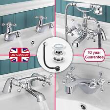 STAFFORD TRADITIONAL BATHROOM SINK BASIN MONO MIXER, BATH FILLER, SHOWER TAP SET