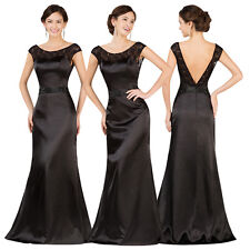 Sexy BACKLESS Long Wedding Party Bridesmaid Gowns Evening Prom Ball Formal Dress