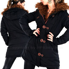 DAMEN Lang DAUNEN LooK WINTER FELL Stepp Jacke KAPUZE Outdoor Parka MANTEL NEU