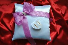 Wedding ring cushion with rings holder / shiny ribbon and crystal - 6 colors