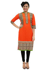 Sensuous Discharge Printed Orange Cotton Kurti / Kurta