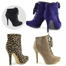 Womens Ladies Lace Up Heels Ankle Boot , Stiletto Heels Ankle Boots UK Size