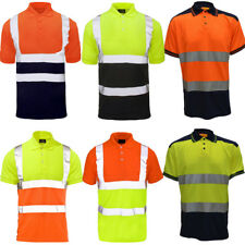 Hi Vis Viz Two Tone Contrast Polo Shirt High Visibility Short sleeved S to 4XL