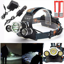 8000Lm 3x XM-L2 T6 LED Ricaricabile headlight Frontale Lampada headlamp