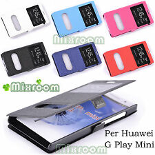 CUSTODIA COVER FLIP CON STAND A LIBRO FINESTRINO PER HUAWEI ASCEND G PLAY MINI