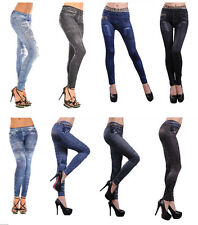 Neu Damen Leggings Jeggings Damen Mode Denim Look Passform Größe 8-18