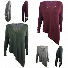 NEW WOMENS LADIES LONG SLEEVE LACE UP V NECK MARL KNIT ASYMMETRIC SIDE SLIT TOP