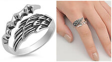 Sterling Silver 925 ANGEL WING WITH EAGLE CLAW ADJUSTABLE RING 13MM SIZES 5-12