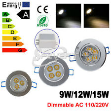Dimmable 9W 12W 15W Luci LED Ceiling Lights Downlight Lamp Bulbs Warm/Cool White