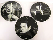 LESSER AND PAVEY ELVIS PRESLEY AUDREY HEPBORN MARILYN MONROE ICON WALL CLOCK