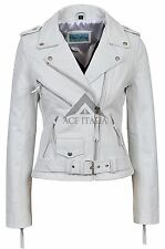 'CLASSIC BRANDO' Ladies White Biker Style Motorcycle Cruiser Hide Leather Jacket