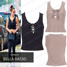 NEW WOMENS LADIES LACE UP V NECK CASUAL SLEEVELESS CROP TOP GIRLS SEXY VEST LOOK