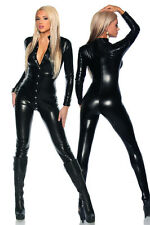 Sexy Wetlook Jumpsuit Lacing Club Gogo Black Patent Leather Long Sleeve Catsuit