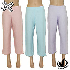 VOODOO DOLLS 'CAPRI PANT' WOMENS TROUSERS PINK BLUE LILAC 8 10 12 14 NEW RRP £28