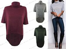 NEW WOMENS LADIES MARL KNIT POLO NECK HILO DIP HEM LONG TOP JUMPER LOOK T SHIRT
