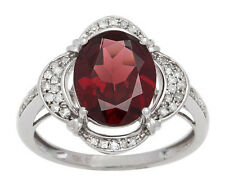 White Gold 3.33ct Oval Garnet and Pave Halo Diamond Ring