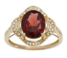 Yellow Gold 3.33ct Oval Garnet and Pave Halo Diamond Ring