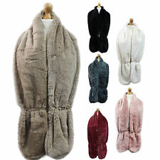 New Ladies Women Winter Warmer Wrap Stole Faux Fur Hook eye Scarf Coller Uk