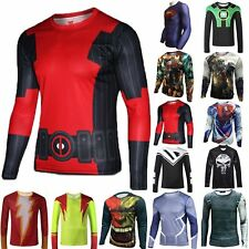 Superhero Mens Marvel Tee T-Shirts Gym Sport Cycling Top Long Sleeve Fit Clothes