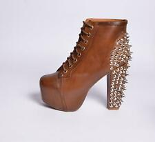 JEFFREY CAMPBELL SCARPE DONNA LITA SPIKE LEATHER DARK BROWN