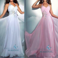Halter Pageant Formal Evening Prom Dress Wedding Bridesmaid Dresses Party Gowns