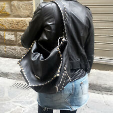 maxi bag, leather, studs, made in italy, handmade, black, gray