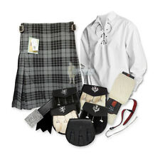 PARTY KIT KILT OUTFIT - GRANITE GREY - WHITE - SIZE & UPGRADE OPTIONS !