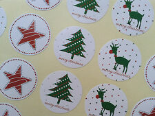 White Reindeer, Star, Tree Christmas Stickers ~ Craft, Cards, Label, Circle Seal