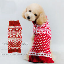 Pet Dog Christmas Sweater Puppy Cat Winter Clothes Snowflake Jumper Coat Apparel