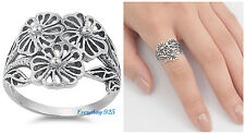 Sterling Silver 925 PRETTY FLOWER BAND DESIGN SILVER RING 16MM SIZES 5-11
