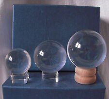 Clear Crystal Ball on Display glass wood stand fortune telling presentation box