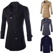 Mens Jacket Warm Winter Long Trench Coat Slim Fashion Casual Smart Button