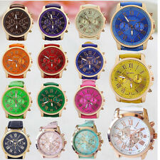 Women Watches Fashion Roman Numerals Faux Leather Band Analog Quartz Wrist Watch