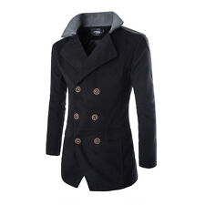 Mens Jacket Warm Winter Trench Long Coat Slim Fashion Casual Smart