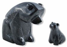 SOLID HEAVY POLISHED BLACK HIMALAYAN MARBLE MOTHER & BABY BEAR ORNAMENTAL FIGURE