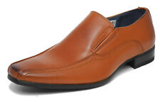 Boys Tan Black Leather Lined Slip On Smart Formal Shoes Size 13 1 2 3 4 5 5.5