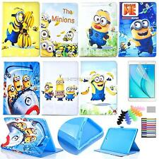 """For Samsung T110 T230 iPad Air Mini Pro9.7""""PU Leather Stand Cover Minions Case"""