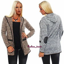 Lange Damen Jacke Mantel Cardigan Strickjacke mit Patches +Kapuze*S M L-36 38 40