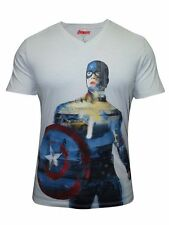 Mens Captain America V Neck Half Sleeve Printed T Shirt by Free Authority