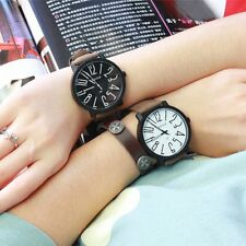 Fashion Men's Couple Leather Stainless Steel Sport Analog Quartz Wrist Watch