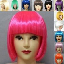 Women Girls Fancy Short BOB Hair Wig With Straight Bangs Cosplay Party Full Wigs