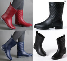 Womens Ladies Quilted Wellington Ankle Boots Wellies Waterproof Snow Rain Shoes