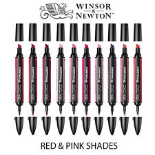 Winsor & Newton ProMarker Twin Tip Graphic Marker Pen - RED & PINK Colours