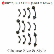 Curved Eyebrow Bar Banana Barbell 16-14G Sizes Ball or Cone Anodized Steel BLACK