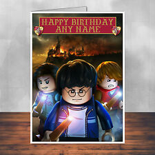 Lego Harry Potter birthday card: Harry, Hermione and Ron. Personalised.