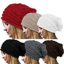 Women Unisex Winter Crochet Hat Ski Slouch Wool Knit Beanie Warm Caps Oversized