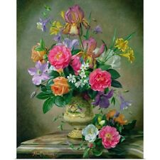 Poster Print Wall Art entitled Peonies and irises in a ceramic vase (oil on